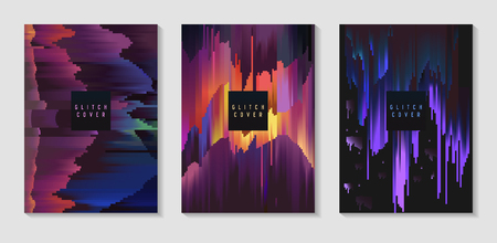 Photo pour Abstract Design Set in Glitch Style. Trendy Background Templates with Geometric Shapes for Posters, Covers, Banners, Flyers, Placards. Vector illustration - image libre de droit