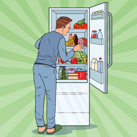 Illustration pour Pop Art Happy Man Looking Inside Fridge Full of Food. Refrigerator with Dairy Products. Vector illustration - image libre de droit