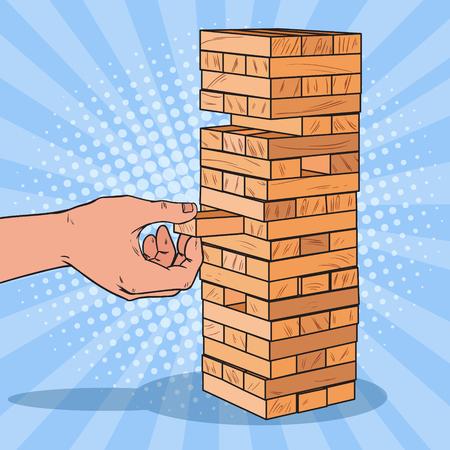 Ilustración de Pop Art Male Hand Pulls out Wooden Block in Table Game. Vector illustration - Imagen libre de derechos