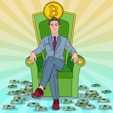 Ilustración de Pop Art Successful Businessman Sitting on Throne with Bitcoin and Money Stacks. Crypto currency Market Concept. Vector illustration - Imagen libre de derechos