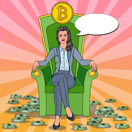 Ilustración de Pop Art Successful Business Woman Sitting on Throne with Bitcoin and Money Stacks. Crypto currency Market Concept. Vector illustration - Imagen libre de derechos