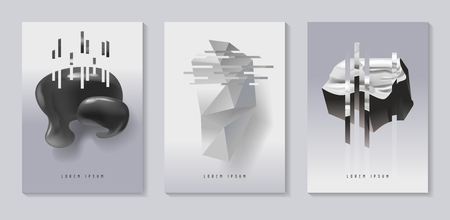 Illustration for Posters, Covers with Glitch Effect and Bauhaus Fluid Shapes. Abstract Futuristic Hipster Design Set for Placard, Banner, Flyers. Vector illustration - Royalty Free Image