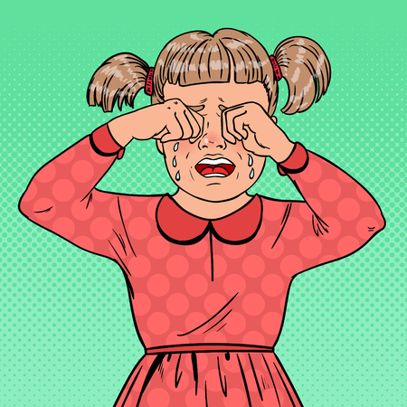 Illustration for Pop Art Unhappy Little Girl Crying with Tears. Sad Child Facial Expression. Tearful Kid. Vector illustration - Royalty Free Image