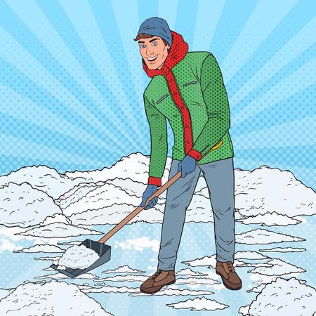 Illustration pour Pop Art Man Clearing Snow with Shovel. Winter Snowfall. Vector illustration - image libre de droit