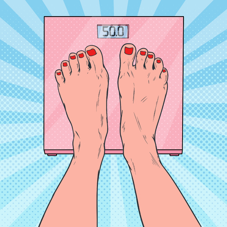 Illustration pour Pop Art Female Feet on Weighing Scales. Woman Measuring Body Weight. Vector illustration - image libre de droit