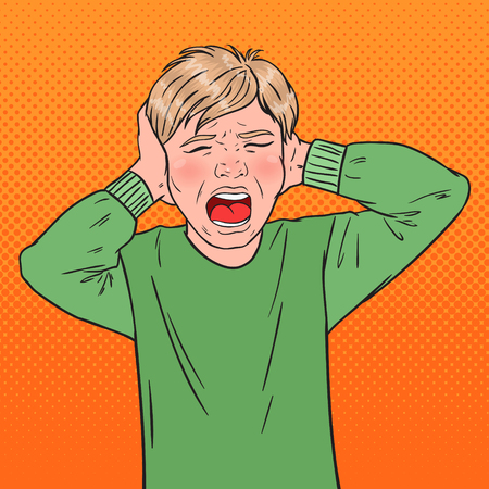 Illustration pour Pop Art Angry Screaming Boy Tearing his Hair. Aggressive Kid. Emotional Child Facial Expression. Vector illustration - image libre de droit