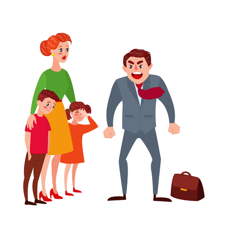 Illustrazione per Furious Father Yelling at his Wife and Kids. Family Quarrel Parents Issues. Angry Man Shouting on Children. Vector illustration - Immagini Royalty Free
