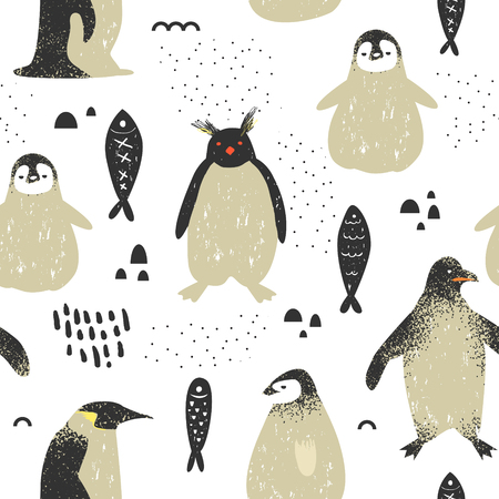 Illustration pour Baby Shower Seamless Pattern with Cute Penguins. Creative Hand Drawn Childish Penguin Background for Fabric, Wallpaper, Decoration. Vector illustration - image libre de droit
