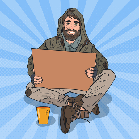Illustration pour Pop Art Homeless Man. Male Beggar with Sign Cardboard Ask for Help. Vector illustration - image libre de droit