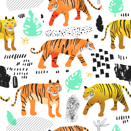 Illustration pour Seamless Pattern with Cute Tigers. Childish Wildlife Animals Background for Fabric Textile, Wallpaper, Wrapping Paper, Decoration. Vector illustration - image libre de droit