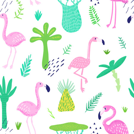Illustration pour Tropical Seamless Pattern with Cute Flamingo and Palm Leaves. Childish Summer Background for Wallpaper, Fabric, Wrapping Paper, Decoration. Vector illustration - image libre de droit