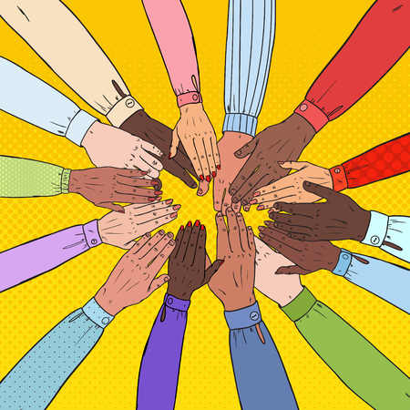 Illustration pour Pop Art Multicultural Hands. Multiethnic People Teamwork. Togetherness, Partnership, Friendship Concept. Vector illustration - image libre de droit