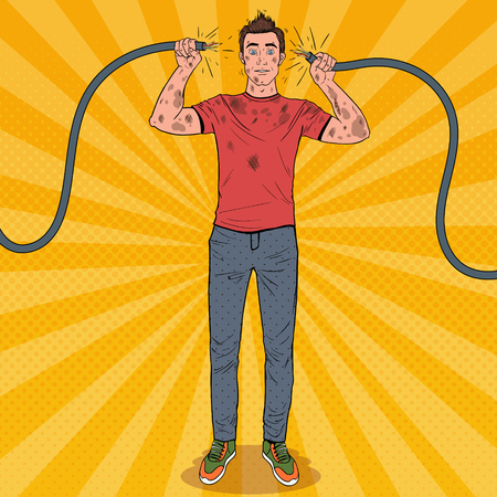 Ilustración de Pop Art Man Holding Broken Electrical Cable after Domestic Accident. Funny Dirty Electrician. - Imagen libre de derechos