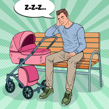 Illustration pour Pop Art Sleepless Young Father Sitting on the Park Bench with Baby Stroller. Parenting Concept. Exhausted Man with Newborn Child. - image libre de droit