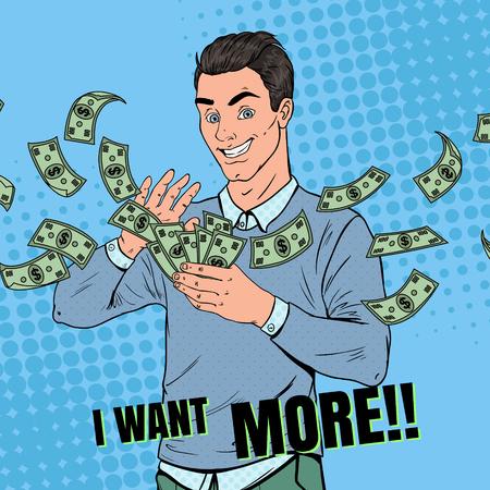 Illustration pour Pop Art Rich Man Throwing Dollar Banknotes. Successful Businessman with Money. Vector illustration - image libre de droit