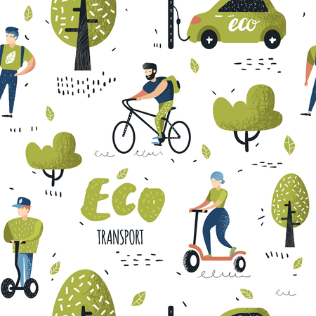 Illustration pour Seamless Pattern with People Riding Eco Transportation. Green Urban City Transport Background. Ecology Concept with Bicycle, Pushscooter, Electrical Car. Vector illustration - image libre de droit