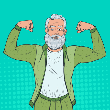 Illustration pour Pop Art Portrait of Mature Senior Man Showing Muscles. Happy Strong Grandfather. Healthy Lifestyle. Vector illustration - image libre de droit