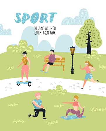 Illustration pour Summer Outdoor Sports Activities. Active People in the Park Poster, Banner. Running, Yoga, Roller, Fitness. Characters Doing Workout Outside. Vector illustration - image libre de droit