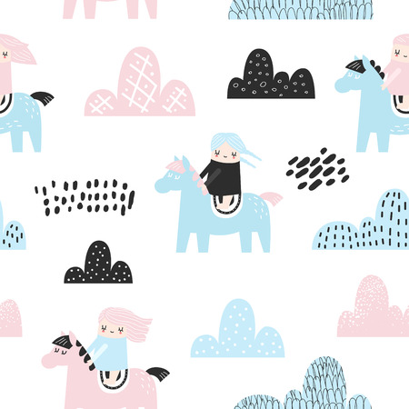Illustration for Childish Seamless Pattern with Cute Girls, Clouds and Pony. Creative Kids Background for Fabric, Textile, Wallpaper, Wrapping Paper. Vector illustration - Royalty Free Image