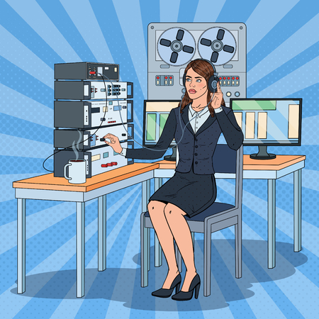 Illustration pour Pop Art Woman Wiretapping Using Headphones and Reel Recorder. Female Spy Agent. Vector illustration - image libre de droit