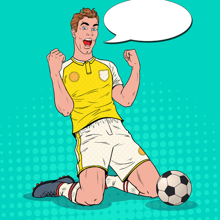Illustration pour Pop Art Soccer Player Celebrating Goal. Happy Footballer, Sport Concept, World Cup. Vector illustration - image libre de droit