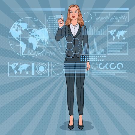 Illustration pour Pop Art Business Woman Using Virtual Holographic Interface. Futuristic Technology Touchscreen. - image libre de droit