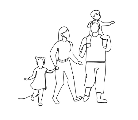 Illustration pour Continuous Line Parents Walking with Children. One Line Happy Family. Contour People Outdoor. Parenting Characters. - image libre de droit