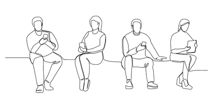 Illustration pour People with Gadgets Continuous Line Art. Man and Woman Using Smartphones One Line Silhouette. Mobile Technologies. - image libre de droit