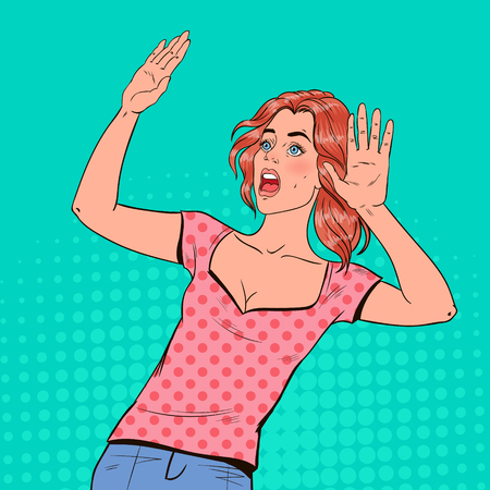 Illustration pour Pop Art Frightened Woman. Scared Facial Expression. Shocked Beautiful Girl Holding Hands Upwards. Negative Emotion. Vector illustration - image libre de droit