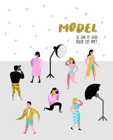Illustration pour Photo Studio Characters Set with Photographer and Models Poster. Photographic Equipment and Posing Female Model. Vector illustration - image libre de droit