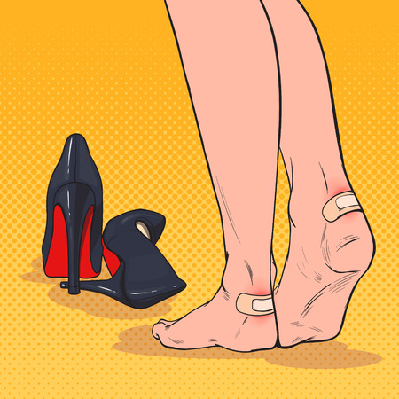 Illustration pour Pop Art Woman Feet with Patch on Ankle after Wearing High Heels Shoes. Plaster Adhesive Bandage on Leg Skin. Vector illustration - image libre de droit