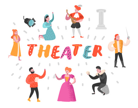 Illustration pour Theater Actor Characters Set. Flat People Theatrical Perfomances. Artistic Man and Woman on Stage. Vector illustration - image libre de droit