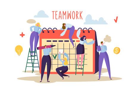 Ilustración de Business Teamwork Concept. Flat People Characters Working Together and Planning Schedule on Desk Calendar. Vector illustration - Imagen libre de derechos