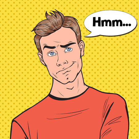 Illustrazione per Pop Art Concerned Man Portrait. Thoughtful Worried Guy Facial Expression. Vector illustration - Immagini Royalty Free
