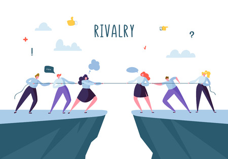 Illustrazione per Business Competition, Rivalry Concept. Flat Business People Characters Pulling Rope. Corporate Conflict. Vector illustration - Immagini Royalty Free