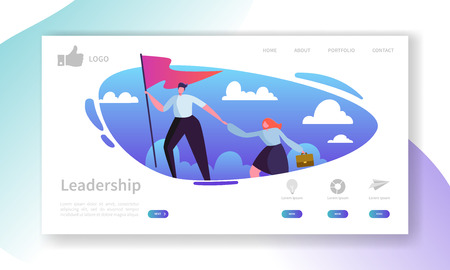 Ilustración de Website Development Landing Page Template. Mobile Application Layout with Flat Businessman Leader on the Top with Flag. Easy to Edit and Customize. Vector illustration - Imagen libre de derechos