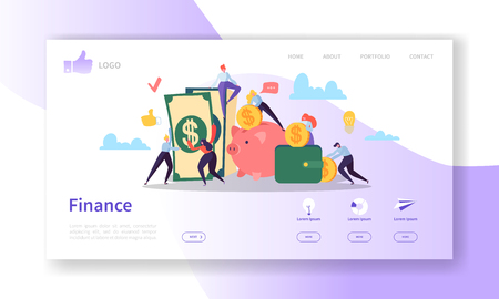 Ilustración de Business and Finance Landing Page Template.  Website Layout with Flat People Characters Making Money. Easy to Edit and Customize Mobile Web Site. Vector illustration - Imagen libre de derechos