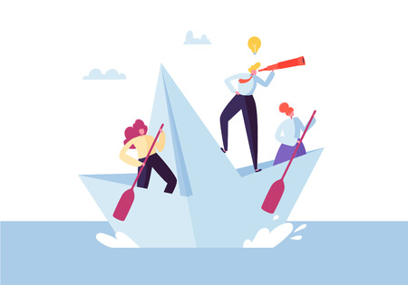 Illustration pour Business People Floating on a Paper Ship. Flat Characters with Spyglass Sailing on Boats. Team Work and Leadership Concept. Vector illustration - image libre de droit