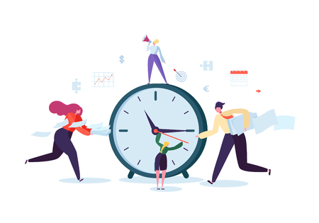Ilustración de Time Management Concept. Flat Characters Organization Process. Business People Working Together Team Work. Vector illustration - Imagen libre de derechos