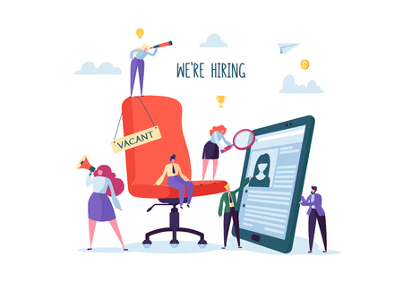 Illustration pour Business People Hiring New Staff. Office chair with vacancy sign. Head Hunters. Flat Characters are Examining a Resume. Recruitment Agency. Vector illustration - image libre de droit