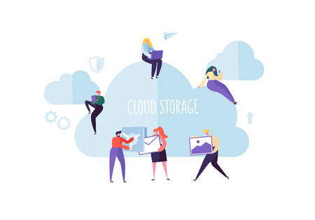 Illustration pour Cloud Storage Technology. Man and Woman Working Together Sharing Data Information Transfer Folders. Vector illustration - image libre de droit