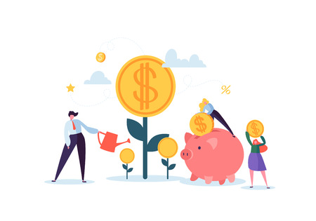 Illustration for Investment Financial Concept. Business People Increasing Capital and Profits. Wealth and Savings with Characters. Earnings Money. Vector illustration - Royalty Free Image
