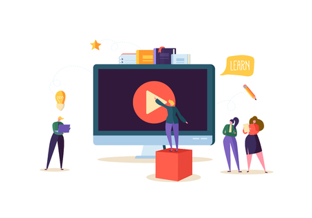 Ilustración de Online Education Concept. E-Learning with Flat People Watching Streaming Video Course on Computer. Graduation University College Students Characters. Vector illustration - Imagen libre de derechos