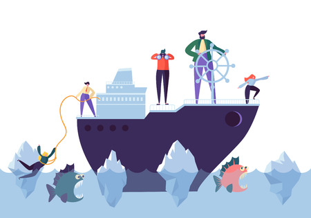 Illustration pour Business People Floating on the Ship in the Dangerous Water with Sharks. Leadership, Support, Crisis Manager Character, Teamworking Concept. Vector illustration - image libre de droit