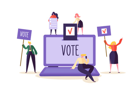 Illustration pour E-voting Concept with Characters Voting Using Laptop via Electronic Internet System. Man and Woman Give Vote into the Ballot Box. Vector illustration - image libre de droit