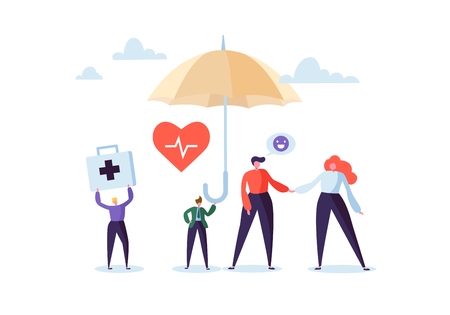 Ilustración de Health Insurance Concept with Characters and Umbrella. Medicine and Healthcare Agent Proposing a Medical Service Contract to the Clients. Vector illustration - Imagen libre de derechos