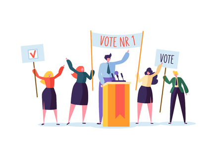 Illustration pour Political Meeting with Candidate in Speech. Election Campaign Voting with Characters Holding Vote Banners. Man and Woman Voters. Vector illustration - image libre de droit
