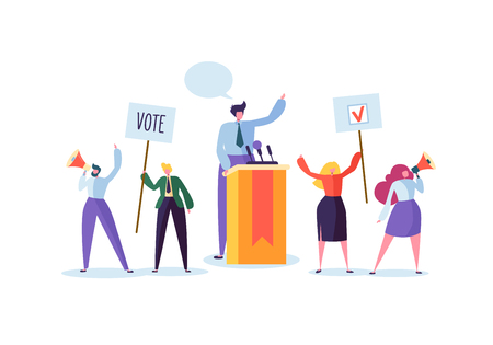 Illustration pour Political Meeting with Candidate in Speech. Election Campaign Voting with Characters Holding Vote Banners and Signs. Man and Woman Voters with Megaphone. Vector illustration - image libre de droit
