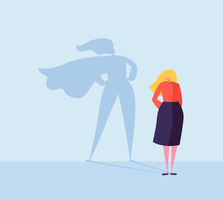 Illustration pour Business Woman with a Super Hero Shadow. Female Character with Cape Silhouette. Businesswoman Leadership Motivation Concept. Vector illustration - image libre de droit