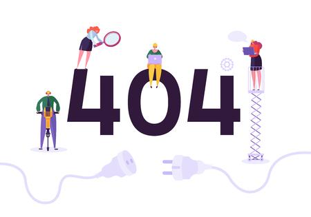 Ilustración de Website Under Construction. 404 Page Maintenance with Characters Workers in Uniform Repairing Network Problem. Web Page Not Found. Vector illustration - Imagen libre de derechos
